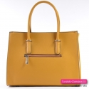 Markowy kuferek w kolorze musztardowym - torebka w modnym fasonie