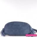 Granatowa duża torebka z ornamentami, frędzlami i efektownymi ćwiekami z przodu