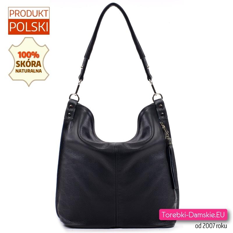 68069281ac87d Polska torebka damska z czarnej skóry naturalnej z kieszenią