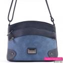 Granatowo - ciemnoniebieska torebka - element jaśniejszy o efektownej fakturze