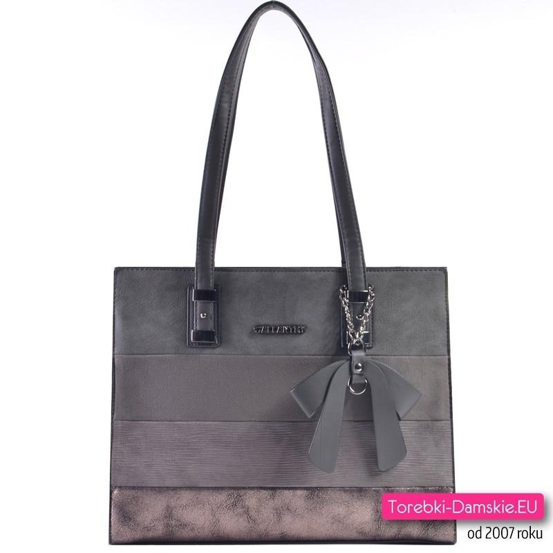 Popielata - szara / grafitowa torba damska z metalizowanym połyskującym elementem