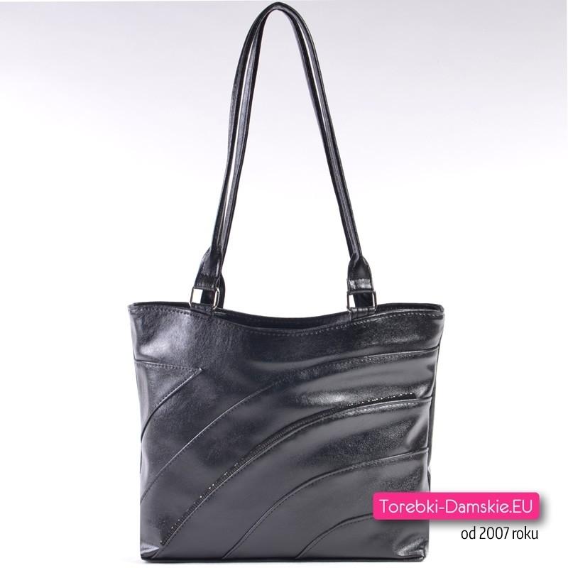 Czarna klasyczna elegancka torebka damska na ramię