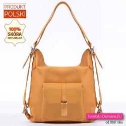 Żółta musztardowa skórzana torebka damska i plecak w jednym