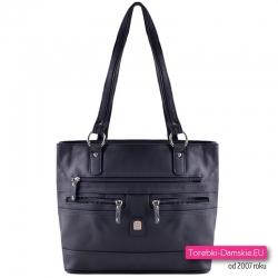 Czarna dwukomorowa torebka na ramię z 4 kieszeniami