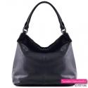 Czarna torba shopper z futrzanym elementem