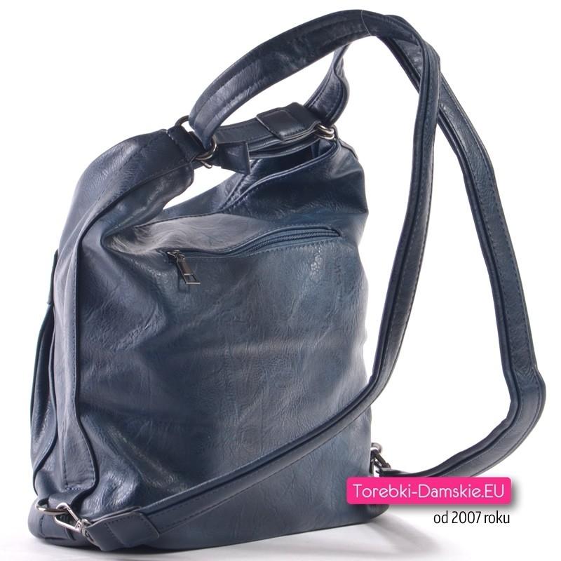 c4774b5aed0f9 Granatowa torebka i miejski plecak damski w jednym  Miejski plecak damski w  kolorze granatowym ...