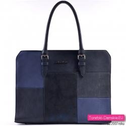 Granatowa efektowna damska miejska torba A4 z patchworkowym wzorem