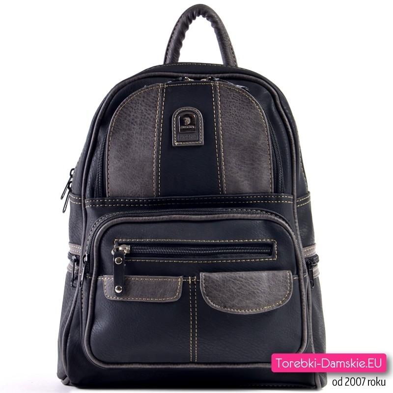 Czarno - grafitowy plecak damski