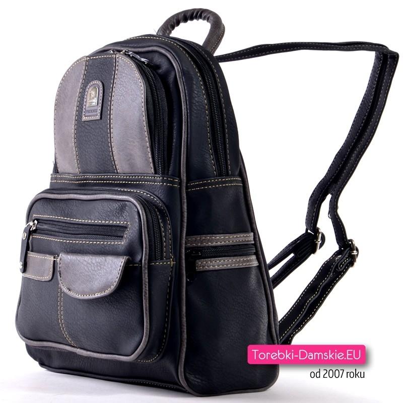 63b0dce4b8aba Czarno - szary miejski plecak damski  Czarny miejski plecak damski z  grafitowymi elementami ...