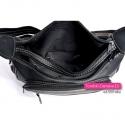 Czarna torebka damska dwukomorowa z 3 kieszeniami w środku