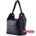 Pikowana torba shopper czarna