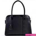 Czarny kuferek - torebka miejska z asymetryczną kompozycją z przodu