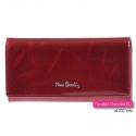 Czerwony lakierowany duży portfel damski Pierre Cardin ze skóry