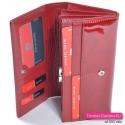 Czerwony damski portfel z wieloma kieszonkami