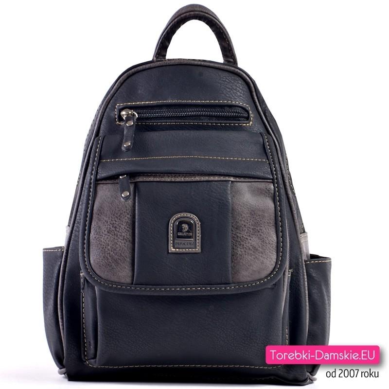 ddcee86d28842 Czarno-grafitowy damski plecak - 7 kieszeni