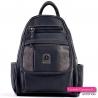 Czarno-grafitowy damski plecak - 7 kieszeni