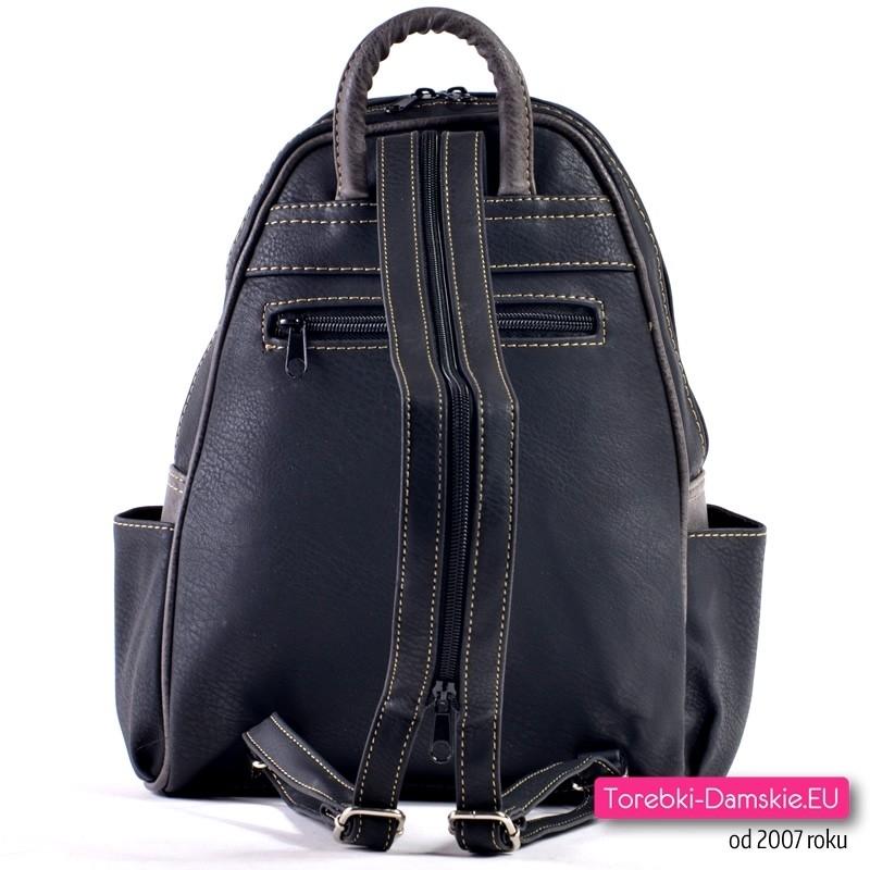 c4861f4dc8ee8 ... Miejski elegancki plecak damski z dużą ilością kieszeni  Funkcjonalny  czarno - grafitowy plecak damski  Plecak damski czarny ...