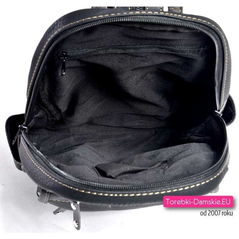 89a5fd4847fd8 ... dużą ilością kieszeni  Funkcjonalny czarno - grafitowy plecak damski  Plecak  damski czarny z rozpinanym paskiem  Pojemny praktyczny i pakowny plecak ...