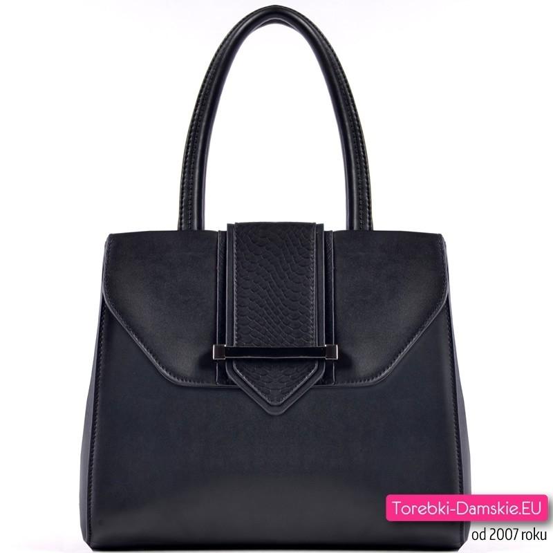 Czarny kuferek - torebka z elementem ze skóry węża
