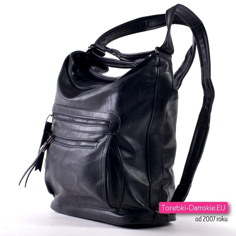 7d8250f7ae3b2 Torbo - plecak damski  Plecako - torebka w kolorze czarnym ...