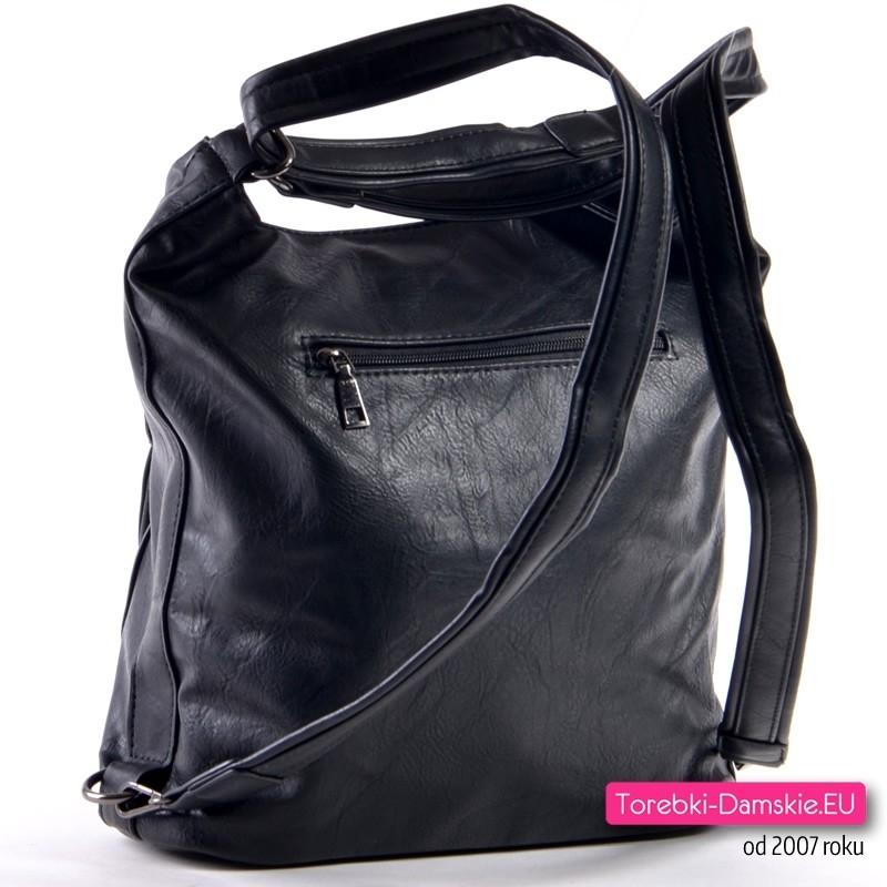 97971d367f5e8 Torbo - plecak damski  Plecako - torebka w kolorze czarnym  Plecako-torba  damska czarna ...