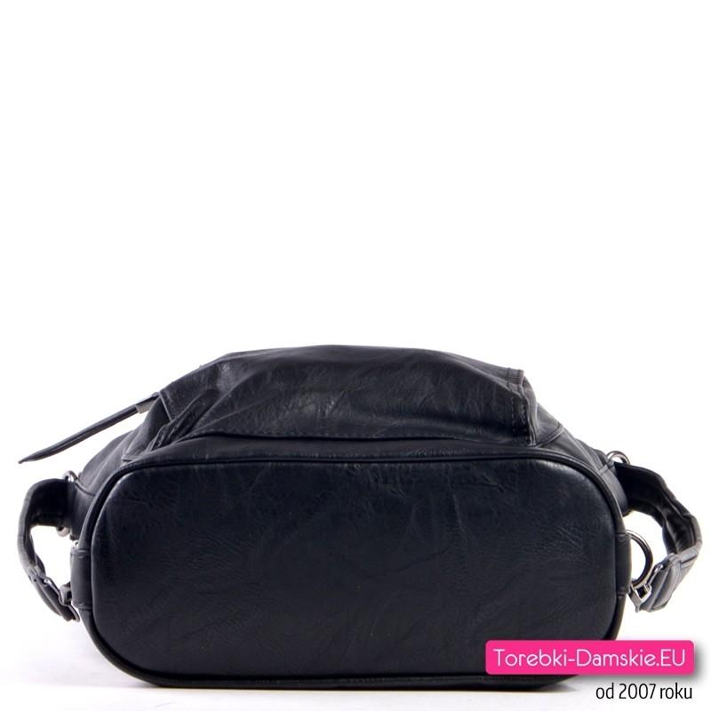 a0317854e8ae5 Torbo - plecak damski  Plecako - torebka w kolorze czarnym  Plecako-torba  damska czarna  Czarny plecak i torebka w jednym z płaskim dnem ...