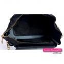 Czarna skórzana torebka i plecak damski ze złotym łańcuszkiem i suwakami