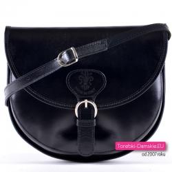 Czarna skórzana włoska torebka crossbody z klapą