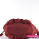 Czerwona zamszowa włoska torebka w ciemnym odcieniu