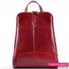 Czerwony włoski skórzany plecak damski