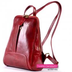 Miejski skórzany plecak damski ciemnoczerwony