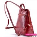 Skórzany czerwony plecak damski z dwoma kieszeniami