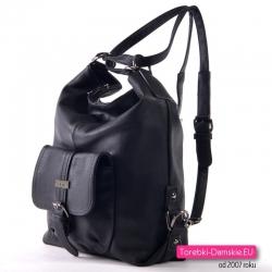 Plecak czarny damski z kieszonką z ozdobną sprzączką