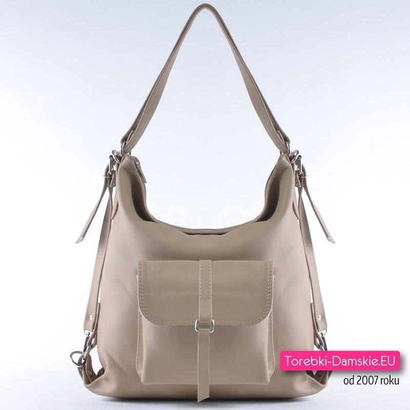 8a2fbe1198768 Beżowa skórzana torebka i damski plecak miejski w jednym