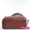 Skórzany brązowy shopperbag z prostokątnym usztywnionym spodem