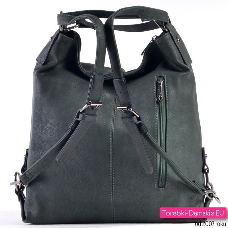 Zielona torba w ciemnym modnym odcieniu z funkcją plecaka