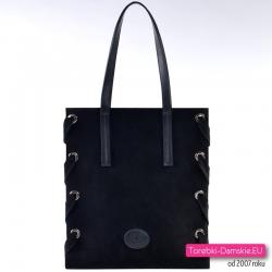 Czarna prostokątna włoska torba shopper ze skóry