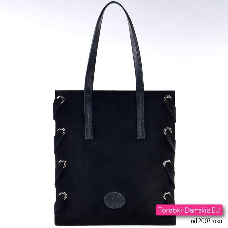 b432ffab2733b Czarna włoska skórzana prostokątna torba shopper