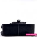 Duża czarna włoska skórzana designerska torba damska na ramię