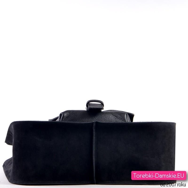 9be9f8406708d ... duży model  Torba na ramię włoska w kolorze czarnym  Zamszowa skórzana  włoska czarna torebka damska ...