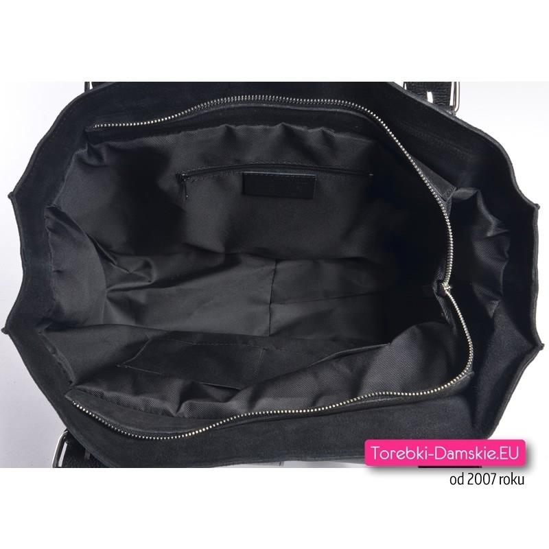 9ec838a28b3df ... Zamszowa skórzana włoska czarna torebka damska  Przepastne wnętrze torby  - zmieścisz tutaj laptopa