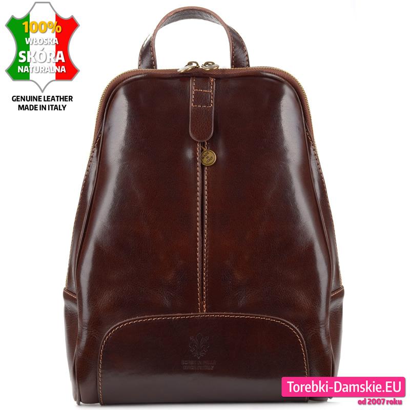 Skórzany włoski brązowy plecak damski