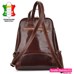 Skórzany damski plecak w kolorze ciemny brąz