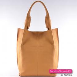 Żółta torba z miękkiej skóry naturalnej