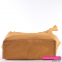Pojemna funkcjonalna żółta torba ze skóry z płaskim dnem