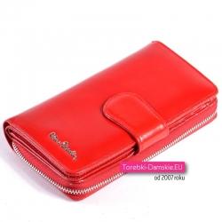 Czerwony duży portfel damski ze skóry na suwak