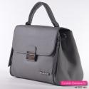 Szary kuferek - elegancka markowa torebka z ozdobnymi suwakami