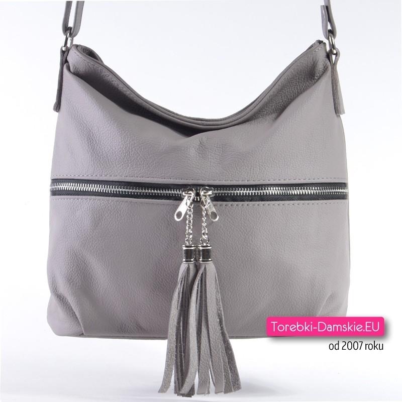 Skórzana szara torebka z kieszenią i chwostami z przodu
