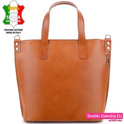 Duża ruda / jasnobrązowa torba damska ze skóry naturalnej