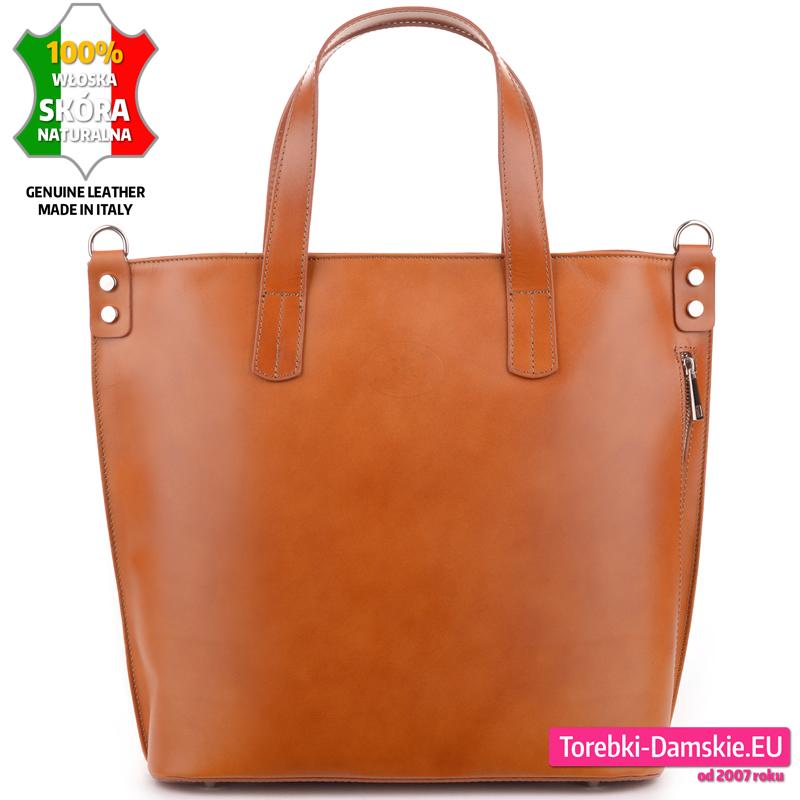 6aa0a9e4468b3 Skórzana duża jasnobrązowa ruda karmelowa torebka damska włoska